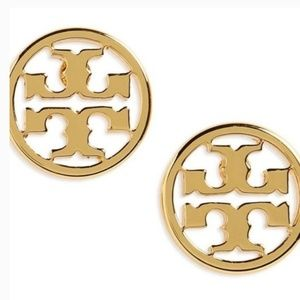 Tory Bruch logo Gold Plated Stud earings